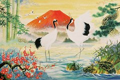 Cranes with red Fuji