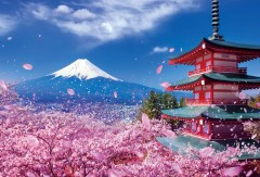 Fuji, cherry blossoms, and Asama pagoda