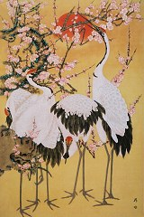 Cranes with pink plum blossom