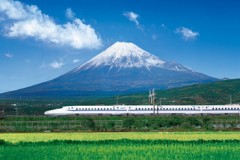 Shinkansen below Mount Fuji