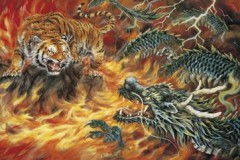 Fire-breathing dragon and tiger