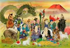 Seven lucky gods and the zodiac animals