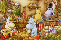 Moomin family cooking party