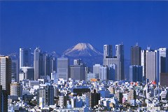 Mt. Fuji and Shinjuku skyscrapers