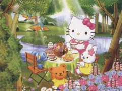 Hello Kitty teatime in the woods